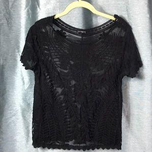 Express Medium Modern Lace Short Sleeve Sheer